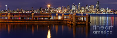 Panorama Of Downtown Seattle From Alki Beach - West Seattle Seacrest Park Washington State Poster by Silvio Ligutti