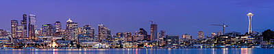 Panorama Of Downtown Seattle From Gasworks Park At Twilight Seattle - Washington Poster by Silvio Ligutti