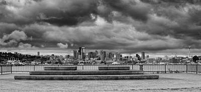 Panorama Of Downtown Seattle From Gasworks Park Seattle Black And White - Washington Poster by Silvio Ligutti