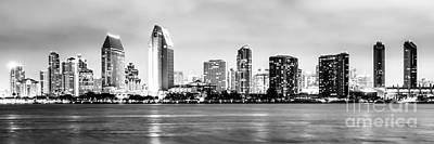 Panorama San Diego Skyline Black And White Picture Poster by Paul Velgos