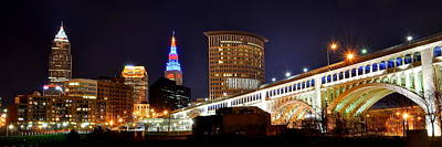 Panoramic Cleveland Night Poster by Frozen in Time Fine Art Photography