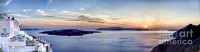 Panorama Santorini Caldera At Sunset Poster by David Smith