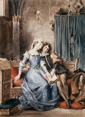 Paolo Malatesta And Francesca Da Rimini Wc On Paper Poster by Ferdinand Victor Eugene Delacroix