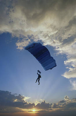 Paraglider Silhouette  Sunset Composite Poster by Cliff Reidinger