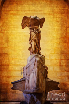 Paris Angel Louvre Museum- Winged Victory Of Samothrace Poster by Domenico Castaldo