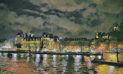 Paris At Night Poster by Yury Malkov