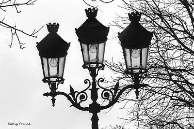 Paris Street Lanterns Lamps - Surreal Black And White Paris Street Lamps Architecture Art Poster by Kathy Fornal