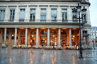 Paris Cafe Le Nemours - Famous Paris Cafe At Place Collette - Cafe Le Nemours Photography Poster by Kathy Fornal