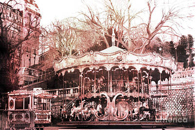 Paris Carousel Merry Go Round Montmartre District - Sacre Coeur Carousel Poster by Kathy Fornal