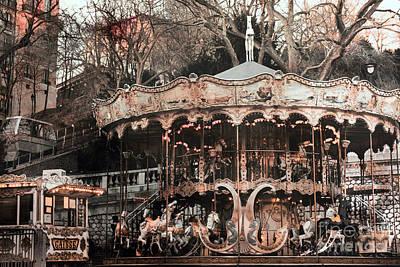 Paris Carousel Merry Go Round Sepia -  Paris Carousel Montmartre District Sacre Coeur Poster by Kathy Fornal