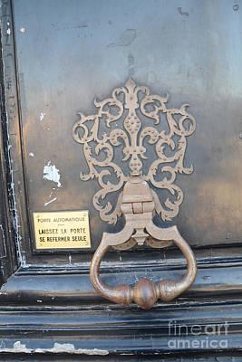 Paris Door Photography - Paris Dreamy Blue Door Knocker - Paris Door Architecture - Doors Of Paris Poster by Kathy Fornal
