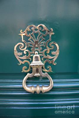 Paris Door Photography - Paris Green Teal Door Knocker - Paris Door Architecture - Doors Of Paris Poster by Kathy Fornal