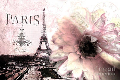 Paris Dreamy Eiffel Tower Montage - Paris Romantic Pink Sepia Eiffel Tower And Flower French Script Poster by Kathy Fornal