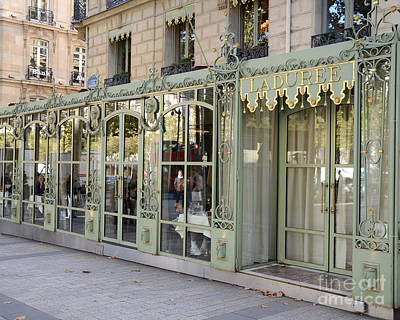 Paris Dreamy Laduree Patisserie And Tea Shop - Paris Laduree Doors And Architecture Fine Art Poster by Kathy Fornal