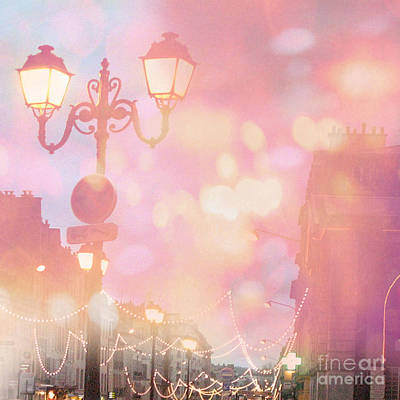 Paris Dreamy Surreal Night Street Lamps Lanterns Fantasy Bokeh Lights Poster by Kathy Fornal