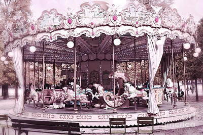 Paris Dreamy Tuileries Park Pink Carousel Merry Go Round - Paris Pink Bokeh Carousel Horses Poster by Kathy Fornal