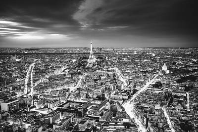 Black And White Paris Poster featuring the photograph Paris - Eiffel Tower And City At Night by Vivienne Gucwa