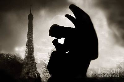 Paris - Eiffel Tower With Angel - Paris Angel At Eiffel Tower  Poster by Kathy Fornal