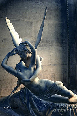Paris Eros And Psyche Romantic Lovers - Paris In Love Eros And Psyche Louve Sculpture  Poster by Kathy Fornal