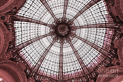 Paris Galeries Lafayette Stained Glass Ceiling Dome - Paris Art Nouveau Abstract Dome Architecture Poster by Kathy Fornal