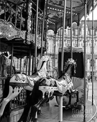 Paris Hotel Deville Carousel Horses - Paris Black White Carousel Horses Merry Go Round Carousel  Poster by Kathy Fornal
