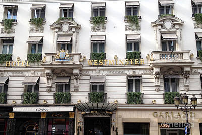 Black And White Paris Poster featuring the photograph Paris Hotel Westminister Windows And Balconies - Paris Hotel Architecture And Cartier Shop by Kathy Fornal
