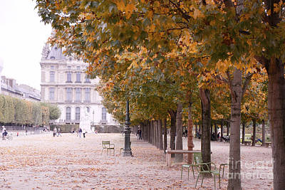 Paris Louvre Jardin Des Tuileries Autumn Fall Trees - Dreamy Tuileries Autumn Trees Nature Gardens Poster by Kathy Fornal