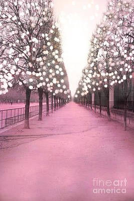 Paris Tuileries Trees Pink Twinkling Fairy Lights Trees- Jardin Des Tuileries Park And Garden Poster by Kathy Fornal