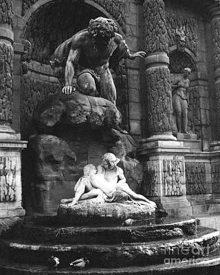 Paris Jardin Du Luxembourg Gardens- The Medici Fountain - Paris Romantic Sculptures Monuments Poster by Kathy Fornal