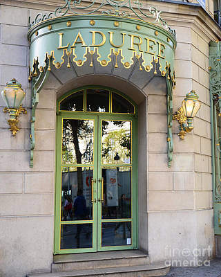 Paris Laduree Fine Art Door Print - Paris Laduree Green And Gold Door Sign With Lanterns Poster by Kathy Fornal
