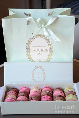 Paris Laduree Macarons - Dreamy Laduree Box Of French Macarons With Laduree Bag  Poster by Kathy Fornal