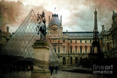 Paris Louvre Museum Pyramid Architecture - Eiffel Tower Photo Montage Of Paris Landmarks Poster by Kathy Fornal