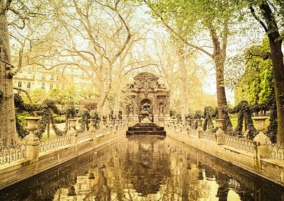 Paris - Medici Fountain - Garden Of Luxembourg Poster by Vivienne Gucwa