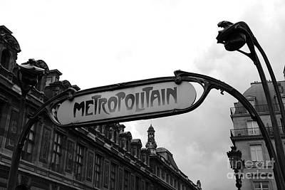 Black And White Paris Poster featuring the photograph Paris Metro Sign Louvre Museum - Paris Metropolitain Sign Black And White Art Nouveau - Paris Metro by Kathy Fornal