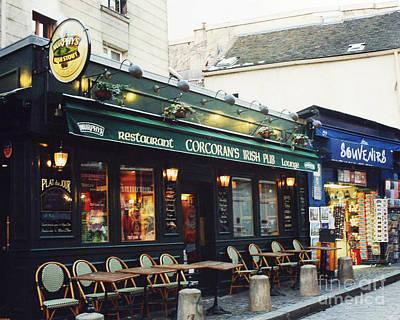 Paris Montmartre Irish Pubs Sidewalk Cafe Pub - Corcoran's Irish Pub Cafe Montmartre District Poster by Kathy Fornal