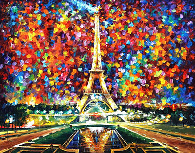 Paris Of My Dreams - Palette Knife Landscape Architecture Oil Painting On Canvas By Leonid Afremov Poster by Leonid Afremov