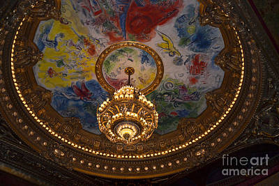 Paris Opera Des Garnier Ornate Ceiling Architecture And Opera House Chandelier Ceiling Poster by Kathy Fornal