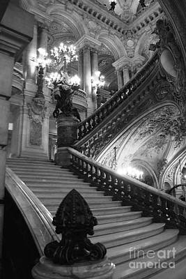 Black And White Paris Poster featuring the photograph Paris Opera House Grand Staircase Black And White Art Nouveau - Paris Opera Des Garnier Staircase by Kathy Fornal