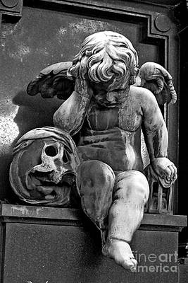 Paris Pere Lachaise Cemetery- Cherub Gothic Angel With Skull Poster by Kathy Fornal
