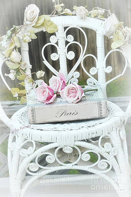 Paris Pink Roses Book White Garden Chair - Shabby Chic Paris Book And Roses - Memories Of Paris Poster by Kathy Fornal