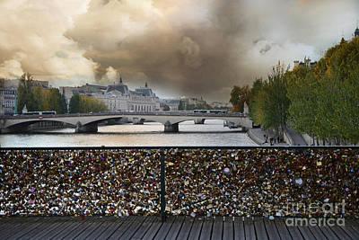Paris Pont Des Art Bridge Locks Of Love Bridge - Romantic Locks Of Love Bridge View  Poster by Kathy Fornal