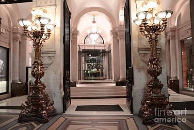 Paris Romantic Hotel Interior Elegant Posh Lanterns Lamps Art Deco Architecture Poster by Kathy Fornal