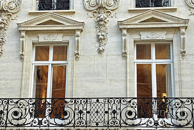 Black And White Paris Poster featuring the photograph Paris Windows Balconies Baroque - Winter White Paris Windows Lace Balcony - Paris Architecture by Kathy Fornal