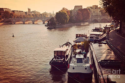 Paris Seine River Fall Autumn - Boats Along The Seine River Poster by Kathy Fornal