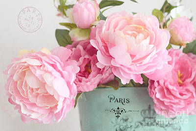 Paris Peonies Shabby Chic Dreamy Pink Peonies Romantic Cottage Chic Paris Peonies Floral Art Poster by Kathy Fornal