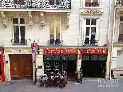 Paris Sidewalk Cafes Cottage Elysees Irish Pub - Paris Pubs Sidewalk Cafes Red Architecture Art Deco Poster by Kathy Fornal