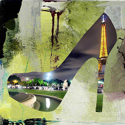 Paris Skyline In A Shoe Poster by Marvin Blaine