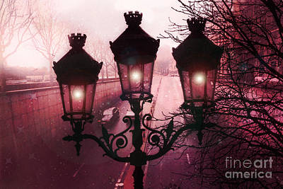 Paris Street Lamps Architecture - Paris Romantic Dark Rouge Rose Street Lamps Lights And Lanterns  Poster by Kathy Fornal
