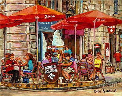 Paris Style Sidewalk Cafe Paintings Le Cremerie Bar Vieux Port Montreal Poutine Red Bistro Umbrellas Poster by Carole Spandau