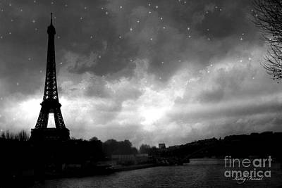 Paris Surreal Dark Eiffel Tower Black White Starlit Night Scene - Eiffel Tower Black And White Photo Poster by Kathy Fornal